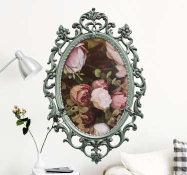 Als u fan bent van vintage en nog een leuke decoratie zoekt is deze sticker perfect. Deze muursticker bestaat uit een vintage frame van een spiegel.