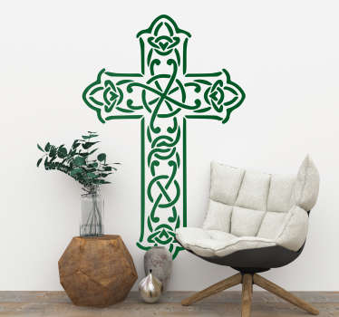 Celtic cross religious wall sticker for bringing a spiritual atmosphere to the walls of your home, perfect for decorating your living room or bedroom. Bring a touch of traditional Irish Christianity to your home decor with this easy to apply cross sticker.
