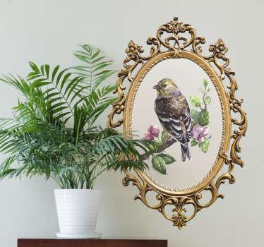Vintage spiegel frame vogel muursticker