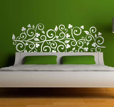 Autocolante de parede cabeceira com folhas