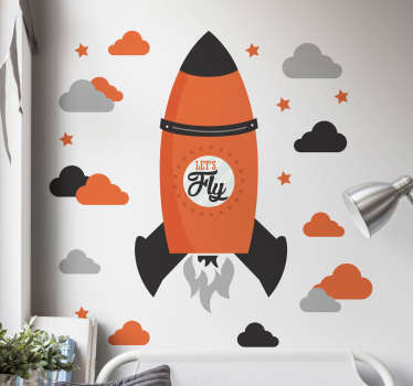 Decorate your home with this fantastic wall art sticker, depicting a stunning rocket ship in full flight! Sign up for 10% off.