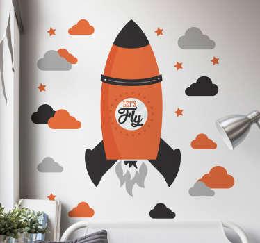 Adesivo murale bambini razzo let's fly