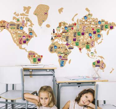 Wereldkaart muursticker kinderen steden