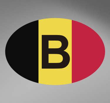Sticker pour voitureavec la lettre B et ledrapeau belge. Aussi, vous pourrez choisir la dimension de votre sticker, pour qu'il soit plus ou moins visible sur votrevéhicule!