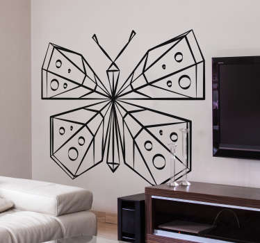 Decorate your walls with this geometrical butterfly wall decal. This sticker will give your room a happy atmosphere.