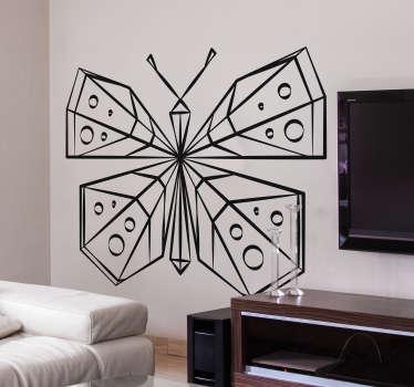 Geometrisk fjäril vägg klistermärke