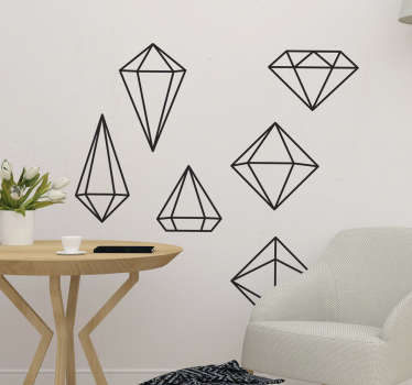 幾何学的なダイヤモンドの壁のステッカー
