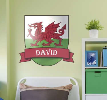 Personalised Welsh dragon wall sticker for decorating any teen's room or kid's bedroom. Show off your Welsh Pride! Choose your size.