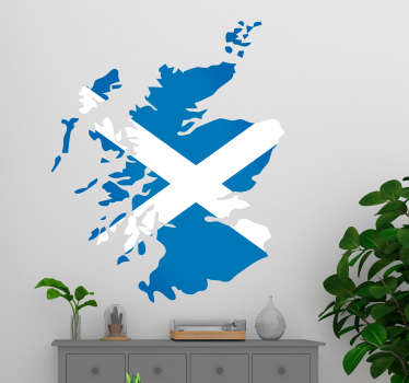 Map of Scotland wall sticker with Scottish flag colouring, perfect for decorating any bedroom, living room or teen's room.