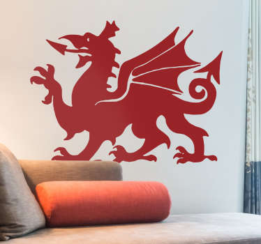 Welsh dragon wall sticker to decorate the home. It is easy to apply and available in any required size. It is adhesive and durable.