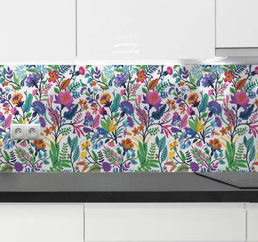 Design decorativo con motivo floreale creato con stampe colorate di fiori ornamentali per decorare una cucina o qualsiasi spazio piatto in casa.