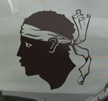 Personality car decal to decorate the surface of a vehicle.   it is the silhouette head of Maure Corse. It is available in different colours and sizes.
