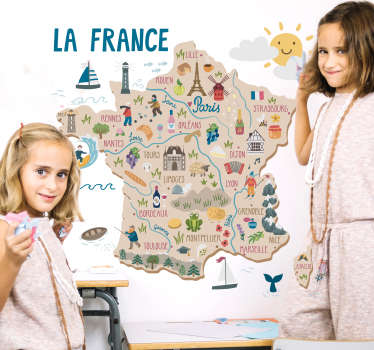 Decorative educative wall sticker for children bedroom with the design of map of France with the features of it cities, placed and activities.
