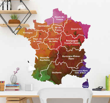 Vous cherchez une carte de la France avec les nouvelles régions crées suite à la réforme de 2016? Nous avons ce qu'il vous faut dans ce cas! Vous retrouverez dans notre sticker mural les 13 nouvelles régions françaises: Nouvelle-Aquitaine, Grand Est, Hauts de France...