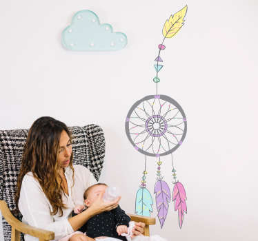 Bring an elegant and lovely design into the children's room with this wall decal with dream catcher. The wall decal is made out of light and bright colors.
