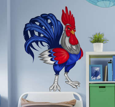 French rooster illustration sticker for home and office space decoration. It is available in any required size and easy to apply.