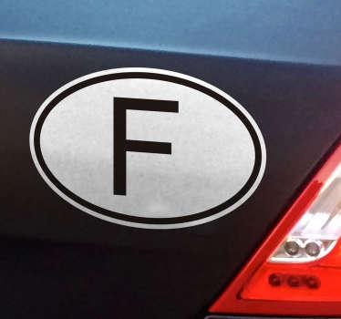 """Stickeravec le """"F"""" français, pour indiquer votre nationalité durant vos voyages.Nos adhésifs sont réalisés à partir de vinyle, les rendant particulièrement résistants aux intempéries et au passage du temps."""