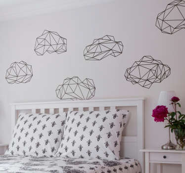 Collection of similar but unique origami cloud wall stickers from our collection of geometric wall stickers. These stickers are perfect for decorating your living room or bedroom and they provide a lovely calm atmosphere on the walls of your home.