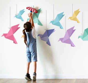Gekleurde origami vogels sticker
