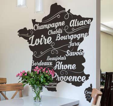 Un sticker mural d'une carte de France et des régions viticoles, accompagnées de quelques appellations bien connues. Pour tous les passionnés de vin!