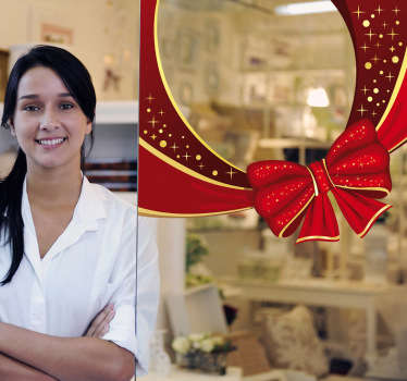街のお店を強調するクリスマスリボンのステッカー。店頭の窓を飾るデカールに最適です。