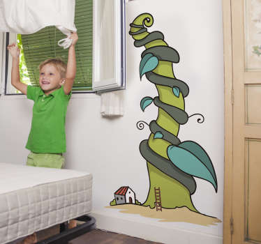 Kids Jack and the Beanstalk Wall Sticker perfect for decorating a nursery or child's bedroom. This fairy tale wall sticker is made up of Jack's farm house next to the famous giant beanstalk caused by the magic beans, from our collection of plant wall stickers.