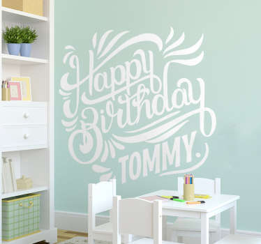Personalised Happy Birthday wall sticker for decorating the walls of the living room, dining room or hall for a birthday party.