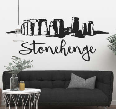 Timeless Stonehenge wall sticker showing the silhouette of the iconic and mysterious monument in England with a stylish cursive text below.