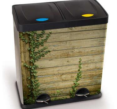 Mülleimer Aufkleber Motiv Holz