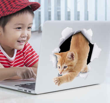 Decorative dustbin sticker with the design of a visual effect cat escaping from a paper wall. Buy it in any size you want. It is easy to apply.