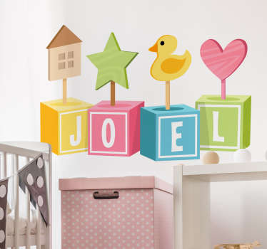 Personalised kids wall sticker showing multicoloured play cubes that spell out the name of your child with cute pictures above them. Decorate your child's bedroom or nursery with colourful images of houses, stars, ducks, hearts and more with this customisable wall decal.