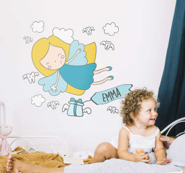 Personalised Tooth Fairy wall sticker for decorating a child's bedroom. This cute cartoon wall sticker shows the tooth fairy flying through the clouds about to deliver a present for your child with their name on it, the perfect gift to give their bedroom a happy and personal atmosphere.