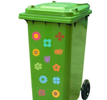 Mülltonnenaufkleber Blumen