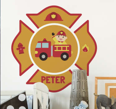 Personalised firefighter wall sticker for kids, perfect for decorating the walls of their bedroom. This fun children's sticker shows a fireman in his firetruck surrounded by a fire hydrant, a helmet, a fire symbol and the name of your child.