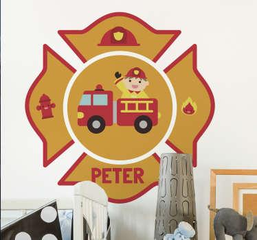 Naamsticker brandweer