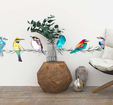 Adesivo da parete di ramo di uccelli esotici
