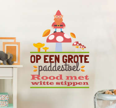 Fairy tale children wall sticker with the design of Dutch gnome  with text.  A colorful kid bedroom decoration. It is available in any size you want.