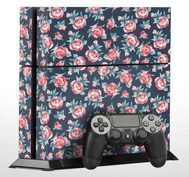 Vinilo PS4 textura rosas