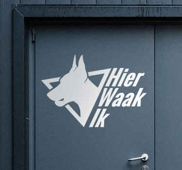 Vinyl door sticker with a dog print and text warning '' Access at your own risk''. It is available in different sizes option. Easy to apply.