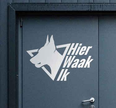 带有狗印的乙烯基门贴纸和文字警告``使用后果自负''。它有不同尺寸的选择。容易申请。