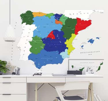 Vinilos decorativos España con el dibujo de la península y en colores las distintas comunidades con las ciudades principales.