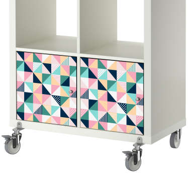 Colourful geometric vinyl sticker for decorating furniture of all kinds This design shows multiple triangles in a stylish pattern to add a touch of personality to the drawers, cupboards and doors of your home.