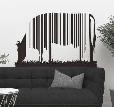 Adesivo de parede vaca com código de barras