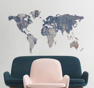 世界地図青い質感の壁のステッカー