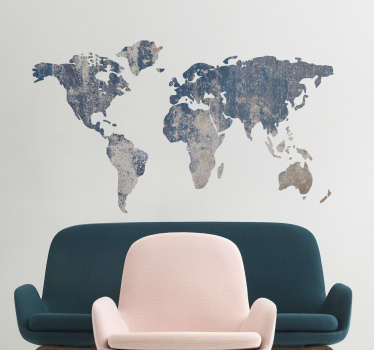 Muursticker wereldkaart blauw textuur