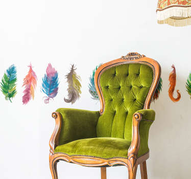 Decorate your wall with this fantastic collection of bird feather themed stickers! Sign up for 10% off.