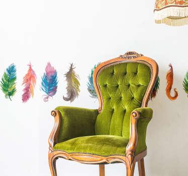 Greca adesiva piume colorate