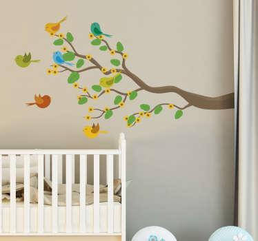 Vinil decorativo pássaros coloridos num ramo