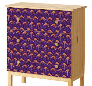 Fun tropical flamingo design to decorate your drawers and cupboards, from our collection of furniture decals. This purple and pink vinyl sticker is perfect for making your chest of drawers stand out. Give it a unique touch quickly and easily without the risk of air bubbles or residue.
