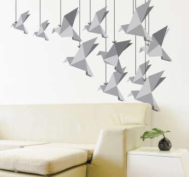 Origami ptice stenske nalepke
